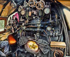 """Footplate controls of British steam Locomotive 34007 """"Wadebridge"""" by Anguskirk, via Flickr"""