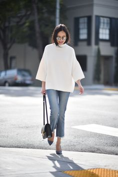 white sweater, ankle jeans, pumps, shoulder bag... Anh Sundstrom, 9 to 5 Chic