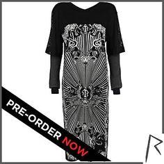 As seen on Rihanna: #pRIHorder NOW! Black Rihanna occult print t-shirt dress - dresses / jumpsuits - rihanna for river island - women