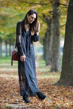 Soraya Bakhtiar looks gorgeous in this boho style lace maxi dress.   Dress: H&M, Trousers: Balenciaga, Necklace: Topshop.