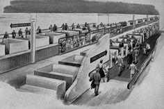 This practical use of a moving sidewalk in a theme park is not unlike the picture above of Goodyear's New York subway system of the future. Description from smithsonianmag.com. I searched for this on bing.com/images