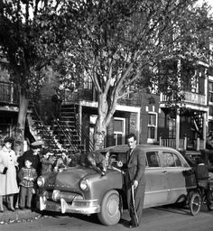 """""""Typical Montreal scene in the except for the deer. Those houses with their staircases represent well that neighbourhood called """"La Petite Patrie."""" Houses were built in the The little fellow on the bicycle is my uncle. I guess the Mercury Meteor is from Quebec Montreal, Montreal Ville, Quebec City, Old Pictures, Old Photos, St Dominique, Toronto Ontario Canada, Canada Eh, The Old Days"""