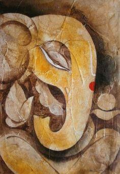 Ganesha Painting by artist Mukesh Mandal Ganesha Drawing, Lord Ganesha Paintings, Ganesha Art, Jai Ganesh, Indian Art Paintings, Abstract Paintings, Abstract Art, Rajasthani Art, Canvas Painting Tutorials
