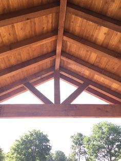 Photo Of Backyard Paradise Magnolia Tx United States Gable Roof Cover Built With All Rough Cedar Beams Rafters Gazebo Roof Patio Remodel Timber Framing