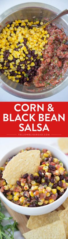 Corn & Black Bean Salsa - easy, fresh salsa with corn and black beans (Mexican Recipes Salsa) Black Bean Corn Salsa, Black Corn, Fresh Salsa Recipe, Appetizer Recipes, Appetizers, Cooking Recipes, Healthy Recipes, Bean Recipes, Black Beans