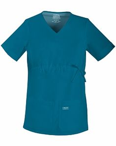 Cherokee Workwear Stretch 4708 Maternity V-neck Knit Panel Top (Women's Medical Scrubs). spandex Side maternity panels V-neck Empire waist Side-tie drawstring Four pockets Cuffed sleevesFront neck piping Center back length: 27 Maternity Scrubs, Maternity Wear, Maternity Tops, Maternity Fashion, Maternity Styles, Cherokee Uniforms, Cherokee Scrubs, Cherokee Woman, Plus Size Pregnancy