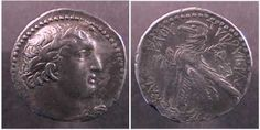 Shekel or AR Tetradrachm of Tyre, Jerusalem or Northern Israel Mint. Dated Year 123 = 4-3 BC. Laureate head of Melquart right / TUROUIER AS KAIASULOU, eagle standing left, palm branch over shoulder, date GRK & club to left, KP and monogram to right. RPC 4648.
