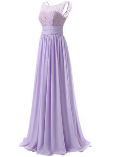 Women's Elegant Solid Sleeve Lace Maxi Evning Chiffon Dress OASAP.com