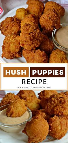 A quick and easy southern Hush Puppies Recipe with crispy outer edges and lightly sweetened soft tender centers! This side dish is so simple to mix together and fry up. Make this family-friendly recipe that is ready in just 15 minutes! Fish Recipes, Seafood Recipes, Appetizer Recipes, Seafood Appetizers, Hot Appetizers, Thai Recipes, Kitchen Recipes, Baking Recipes, Simple Cooking Recipes