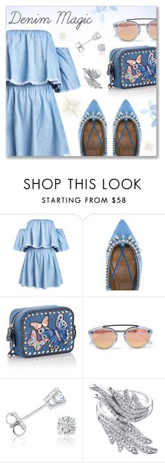 """""""Denim Magic"""" by dressedbyrose ❤ liked on Polyvore featuring Aquazzura, Valentino, Westward Leaning, Amanda Rose Collection and polyvoreeditorial"""