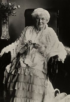 """""""An elderly women sits and knits on her 104th birthday - 1919.""""  That means she was born in 1815, the year Napoleon was defeated and sent to St. Helena.  It also means she was alive when Queen Victoria ascended the throne, and when she died."""