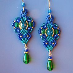 Micro Macrame Earrings- Beaded Earrings in Teal, Blue, Gold -Macrame Jewelry - Classic style