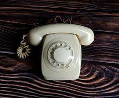 Vintage rotary telephone. Old beige telephone. Soviet landline telephone. USSR desk phone. Retro telephone. Beige vintage telephone Vintage Phones, Vintage Telephone, Pineapple Upside, Rotary, Landline Phone, Cottage, Tech, Beige, Inspired