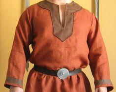 Viking celtique médiévale Norman chemise avec col Deluxe