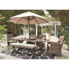 patio furniture Havenside Home Sandestria Dining Table with Umbrella Option (Beige Outdoor Dining Table Umbrella Option)(Aluminum)