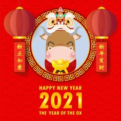 Happy Chinese New Year 2021 Greeting Card. Little Ox Holding Chinese Gold, Paper Art Style, Year Of The Ox Zodiac Cartoon Isolated Stock Vector - Illustration of festival, cute: 168609676 Happy Chinese New Year, Happy New Year Fireworks, Happy New Year Pictures, Happy New Year Message, Chinese New Year Greeting, Happy Lunar New Year, Happy New Year Quotes, Happy New Year Wishes, Happy New Year Greetings
