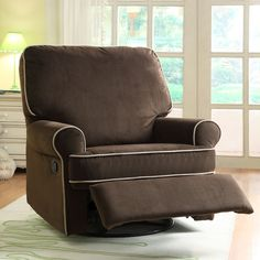 Add a touch of comfort and style to your child's nursery with this elegant glider recliner chair. Featuring a plush brown design, this chair rocks, swivels, and reclines for extra comfort during late night feedings. Cream piping completes this piece.