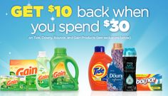 P&G:  Buy $30 Worth of Gain, Tide Bounce & Downy Products, Get $10 Rebate!