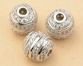 1pc 8.5mm 925 Sterling Silver Zircon Round Spacer Bead, 925 Silver Zircon Bead Spacer (S062S)