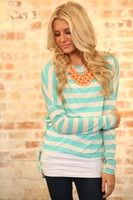 Lounging in Style Top Turquoise/Oatmeal