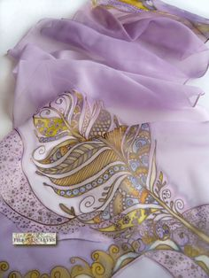 Chiffon Hand Painted Scarf,a stylized peacock feather,ornamental scarf,pale purple,ocher,blue,Dress scarf,Art Painted Scarf,Womens Gift An