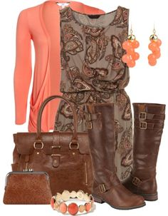 Love this paisley dress with the boots!