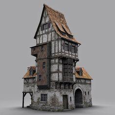 fantasy old blacksmith house obj - Fantasie alten Schmiedehaus obj - Fantasy City, Fantasy Castle, Fantasy House, Medieval Fantasy, Medieval Houses, Medieval Town, Casa Estilo Tudor, Architecture Design, Classical Architecture
