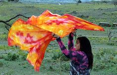 China silk tie dyed swing flags for worship by VictoryHillFlags, $125.00