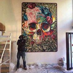 Skull and Roses Acrylic painting on canvas for beginners Step by step Skull Painting, Acrylic Painting Canvas, Totenkopf Tattoos, Skull Decor, Art Inspo, Graffiti, Banksy Art, Illustration, Cool Art