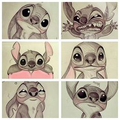 Wallpaper Disney Cute Lilo Stitch New Ideas Cute Disney Drawings, Cartoon Drawings, Cute Drawings, Drawing Sketches, Drawing Disney, Drawing Drawing, Sketch Art, Lilo Ve Stitch, Lelo And Stitch