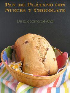 Pan de Plátano con Nueces y Chocolate (Panificadora) Bread Machine Recipes, Pan Bread, My Recipes, Biscuits, Muffin, Ice Cream, Baking, Breads, Breakfast