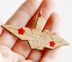 Peace Crane Brooch - Sustainable Bamboo and Hand Painted  This is my favourite origami model! :D