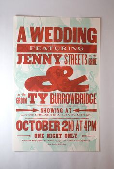 wedding invite designed like a show poster by stephanie laursen