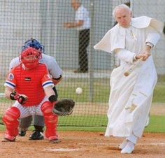 Pope John Paul II playing baseball!