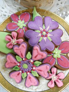 "Bridal Blossoms ~ Chocolate cut-out cookies with royal icing for wedding shower ""edible"" floral centerpiece. Colour palette was inspired by the bridesmaids' dresses and the party table decor. {The Cookie Faerie}"
