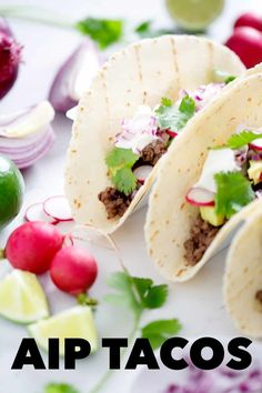 This AIP Taco recipe is so easy that you can make it any night of the week. It includes delicious AIP Taco Meat with all the fixins. Healthy Taco Recipes, Healthy Tacos, Meat Recipes, Real Food Recipes, Yummy Food, Dinner Recipes, Fodmap Recipes, Dairy Free Recipes, Gluten Free Flatbread