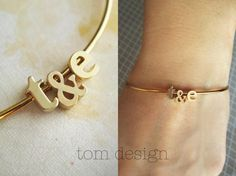 Tiny Gold Initial & Ampersand Bangle Bracelet Lowercase; $22 at etsy.com