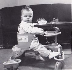 Vintage Antique Photograph Adorable Little Baby in Walker / Bike in Retro Room
