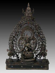 Large Nepalese 19th C. Bronze Green Tara Triad