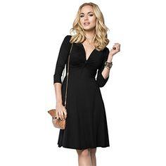 c0eafdaa27 OU GRID Womens Plus Size Retro 34 Sleeve Deep Vneck Party Swing Dress Black  XLarge -