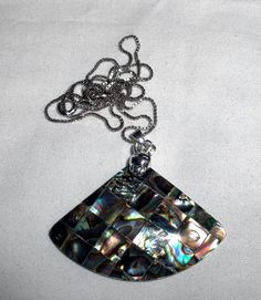 NECKLACE  ABALONE  FAN  Patchwork  925   Sterling by MOONCHILD111, $12.99