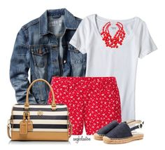 Boat Print Shorts. Polyvore, mode, style, Gap, Uniqlo, Dolce&Gabbana, Tory Burch, Kenneth Jay Lane and Mossimo Supply Co. Summer outfits. Shorts. Fashion for women over 40.