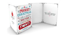 """These outrageous """"Just say it!"""" Christmas cards are guaranteed toshock your family or friends into humorous hysterics.But beware! Our collection of Christmas cards contain some foul language. Some may find offensive!!These quality packs come with 6 assorted card designs and 6 envelopes sealed within a single cellophane wallet.Each  pack contains:You're a c*nt, sorry, i meant to say Merry Christmas you c*nt.  Dear Santa, I was naughty this year, but f*ck it was worth it, you fat judgmental…"""