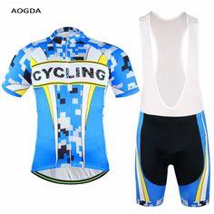 AOGDA Team Ropa Ciclismo Men Cycling Bike Short Sleeve Jersey Bib Shorts Set Bicycle Sportswear Clothing Suit S-XXXL