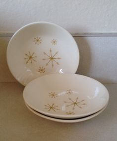 "Royal China ""Star Glow"" berry dishes. Circa 1960. Nabbed for 25 cents a piece in a thrift store.  MCM"