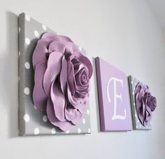 Rose Garden nursery art roses are purple gray and purple Monogram Art Print baby name printing canvas art print set flower wall decoration Garden Nursery, Nursery Art, Girl Nursery, Nursery Decor, Nursery Ideas, White Wall Decor, Flower Wall Decor, Large Canvas Art, Canvas Art Prints