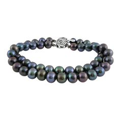 Jpearls Two String Grey Pearl Bracelet : Product Features : Pearl Shape:Oval/Button / Potato Pearl Colour: Black Base Metal: Silver Alloy Pearl Quality: Aaa Braclet Length: 6 To 8 Inches Pearl Type: Freshwater Pearls Stone Type : Cubic Zricion Stones Stone Color : White Brand :Sri.Jagdamba Pearls