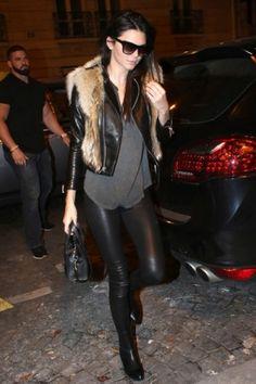 Kendall Jenner wearing Celine Nano Bag, Alexander Wang Anouck Cutout-Heel Jodhpur Boot, Raquel Allegra Split Neck Sleeveless Top, Raquel Allegra Split Neck Sleeveless Top and Saint Laurent Coyote Fur and Leather Jacket.
