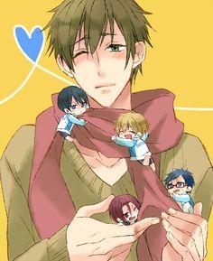 Makoto and chibi haru, rin, rei e Nagisa xp All Anime, Anime Chibi, Anime Guys, Makoto Tachibana, Makoharu, Splash Free, Free Eternal Summer, Free Iwatobi Swim Club, Free Anime