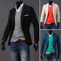 Brand 2014 male buckle fashion blazers slim small suit jacket black